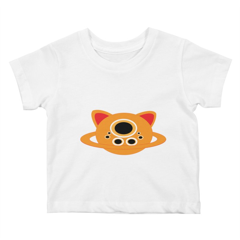 Saturn Cat Design  Kids Baby T-Shirt by Rebecca's Artist Shop