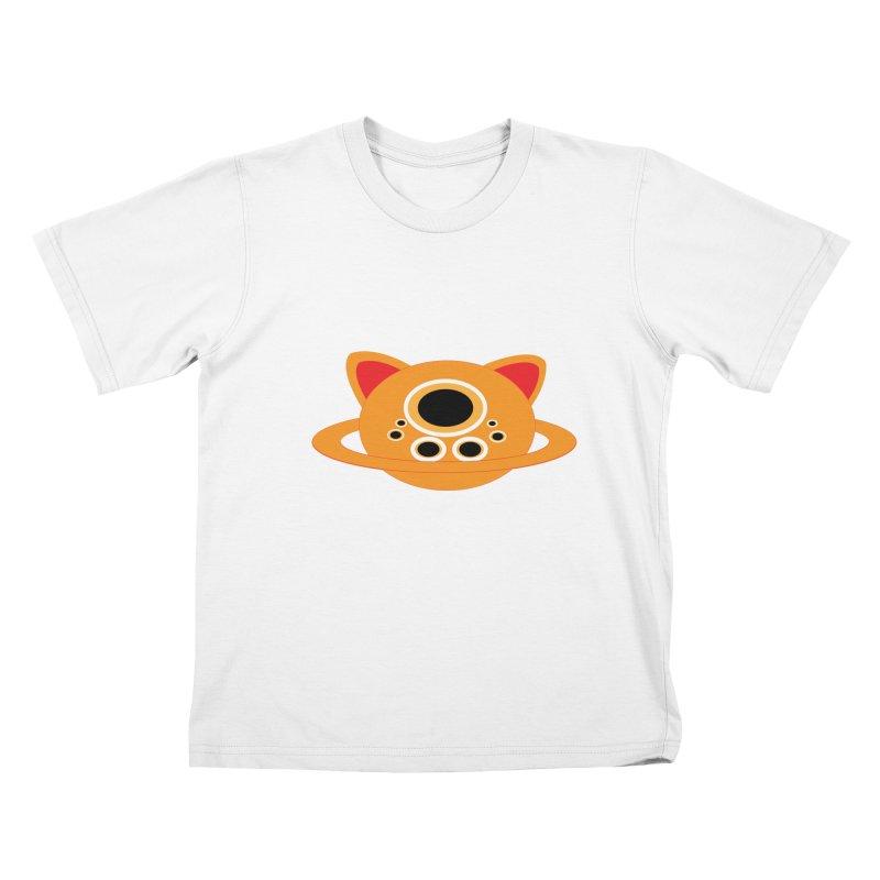 Saturn Cat Design  Kids T-Shirt by Rebecca's Artist Shop