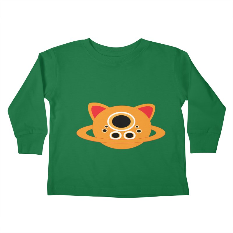 Saturn Cat Design  Kids Toddler Longsleeve T-Shirt by Rebecca's Artist Shop