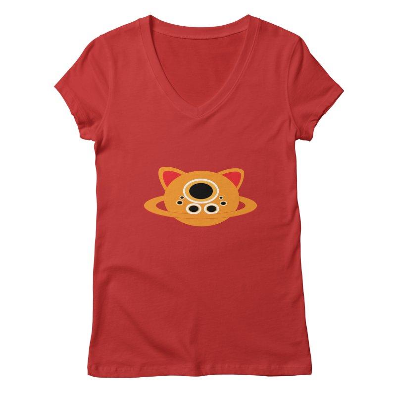 Saturn Cat Design  Women's V-Neck by Rebecca's Artist Shop