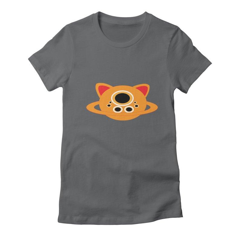 Saturn Cat Design  Women's Fitted T-Shirt by Rebecca's Artist Shop