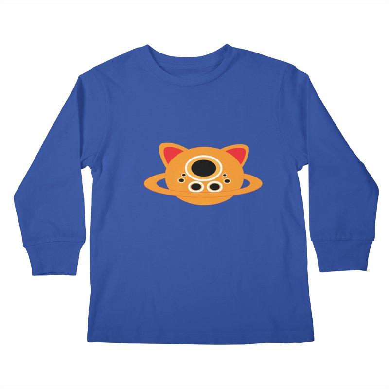 Saturn Cat Design  Kids Longsleeve T-Shirt by Rebecca's Artist Shop
