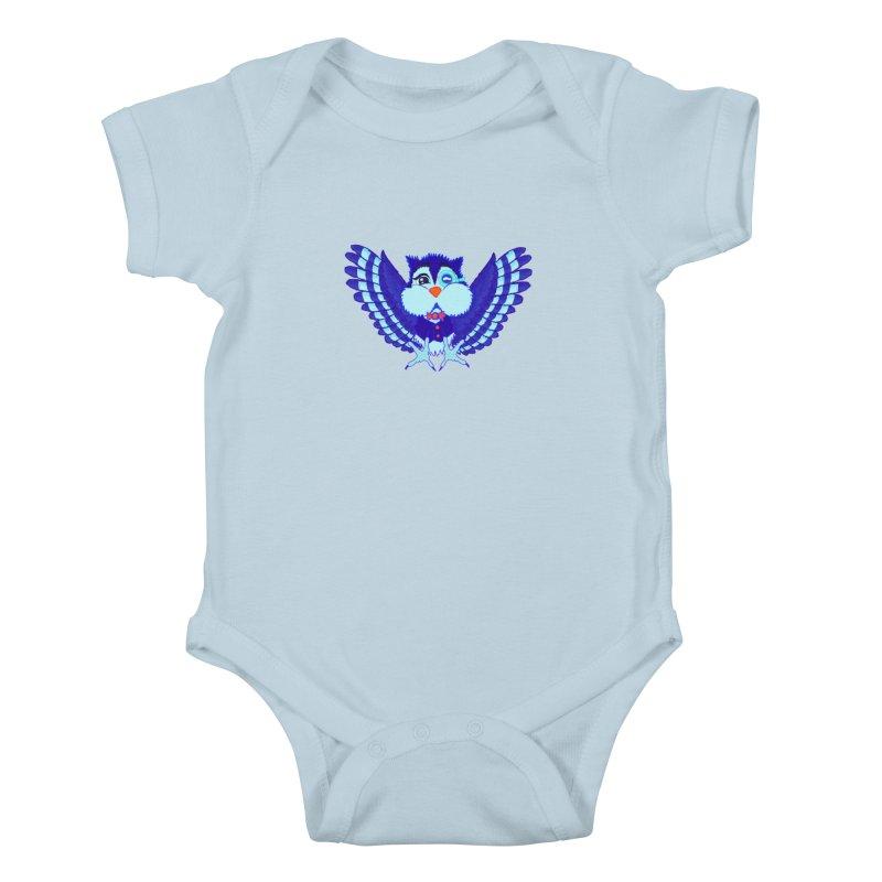 Owl Redesign  Kids Baby Bodysuit by Rebecca's Artist Shop