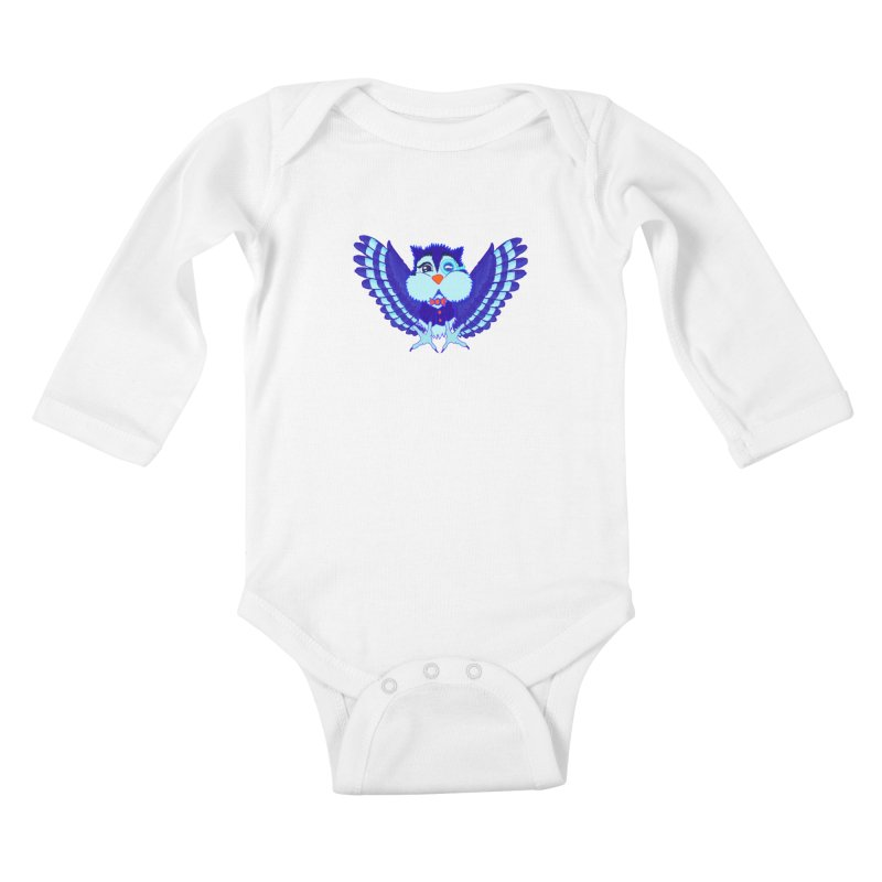 Owl Redesign  Kids Baby Longsleeve Bodysuit by Rebecca's Artist Shop