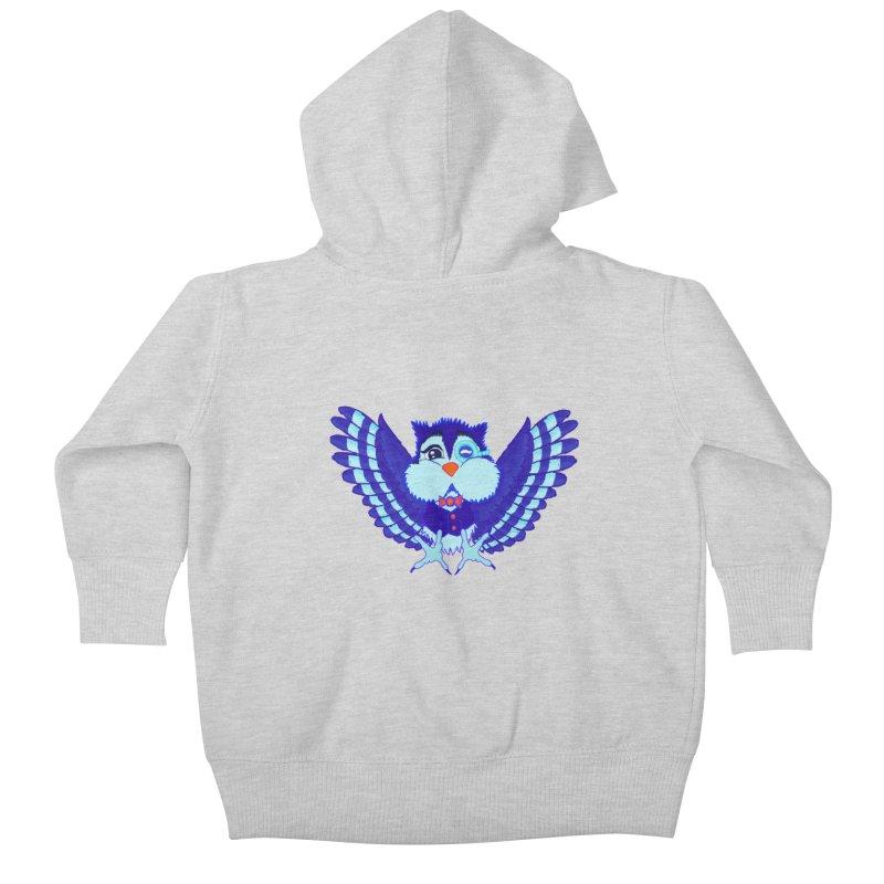 Owl Redesign  Kids Baby Zip-Up Hoody by Rebecca's Artist Shop