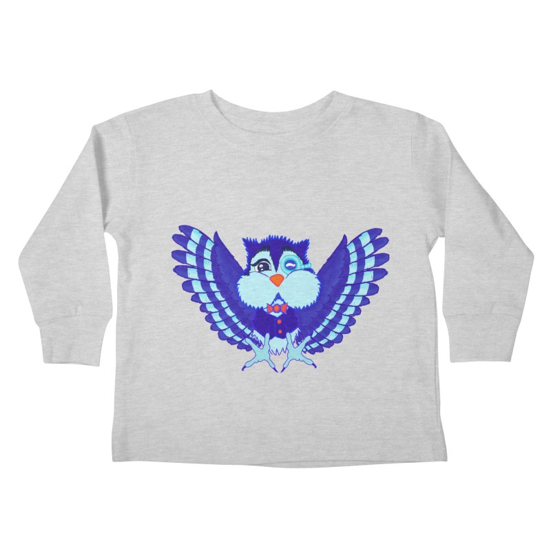 Owl Redesign  Kids Toddler Longsleeve T-Shirt by Rebecca's Artist Shop