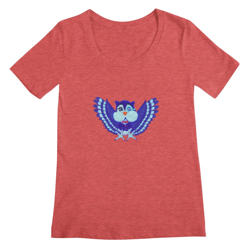 Owl Redesign  Women's Scoopneck by Rebecca's Artist Shop