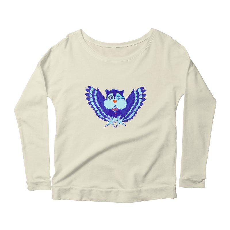 Owl Redesign  Women's Longsleeve Scoopneck  by Rebecca's Artist Shop