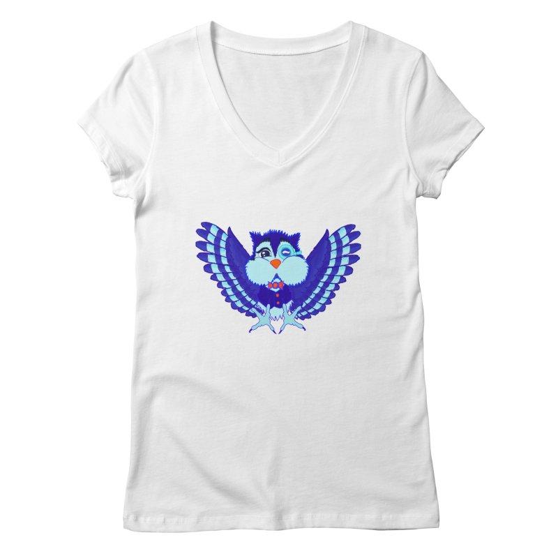 Owl Redesign  Women's V-Neck by Rebecca's Artist Shop