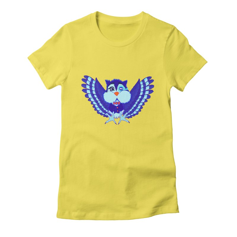 Owl Redesign  Women's Fitted T-Shirt by Rebecca's Artist Shop