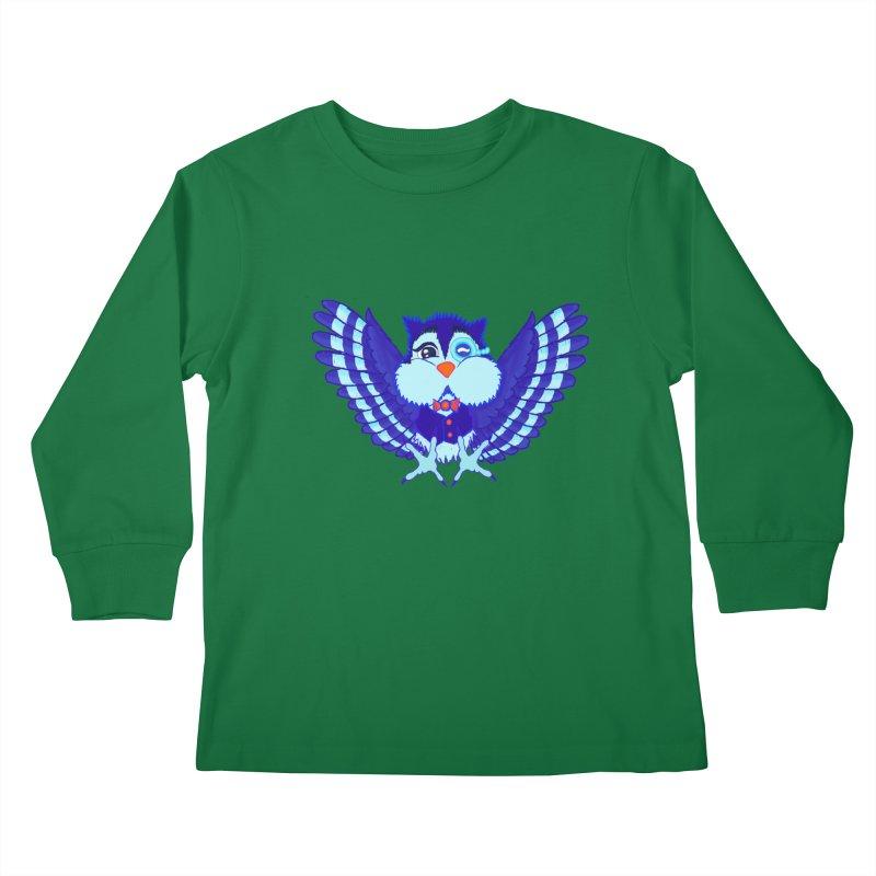 Owl Redesign  Kids Longsleeve T-Shirt by Rebecca's Artist Shop