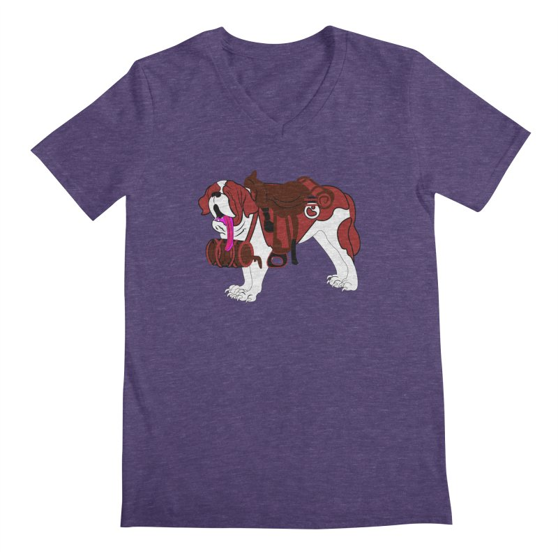 Saint Bernard Men's V-Neck by Rebecca's Artist Shop