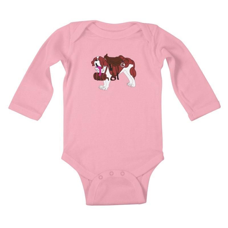 Saint Bernard Kids Baby Longsleeve Bodysuit by Rebecca's Artist Shop