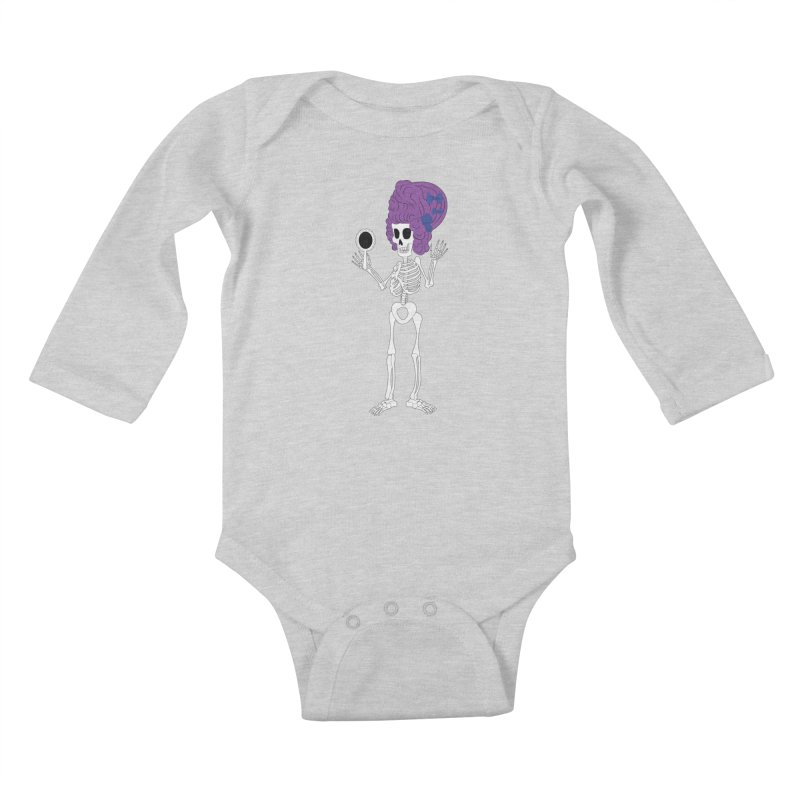 Skully in a Wig Kids Baby Longsleeve Bodysuit by Rebecca's Artist Shop