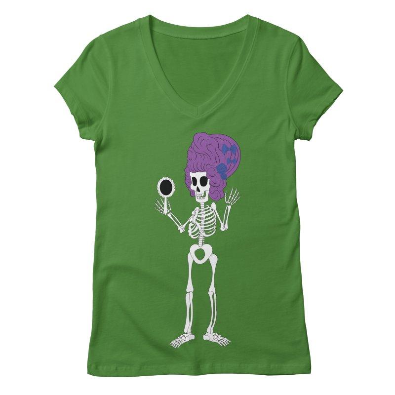 Skully in a Wig Women's V-Neck by Rebecca's Artist Shop