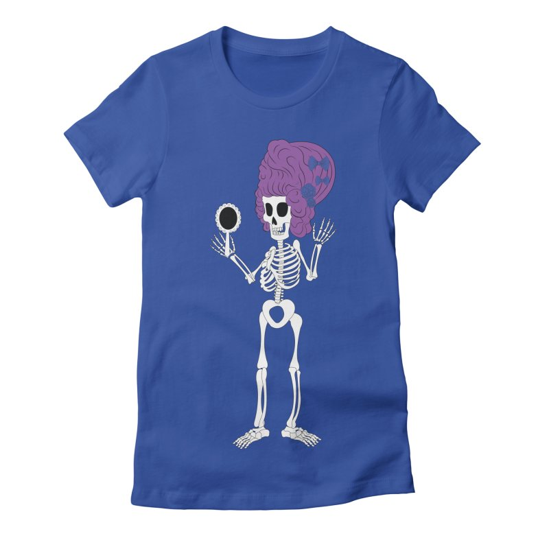 Skully in a Wig Women's Fitted T-Shirt by Rebecca's Artist Shop