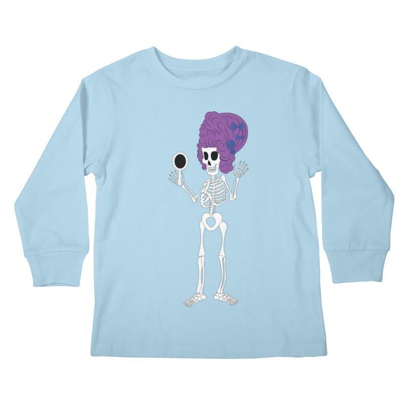 Skully in a Wig Kids Longsleeve T-Shirt by Rebecca's Artist Shop
