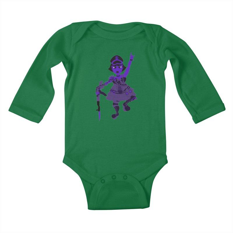 Post Apocalyptic Girl Kids Baby Longsleeve Bodysuit by Rebecca's Artist Shop