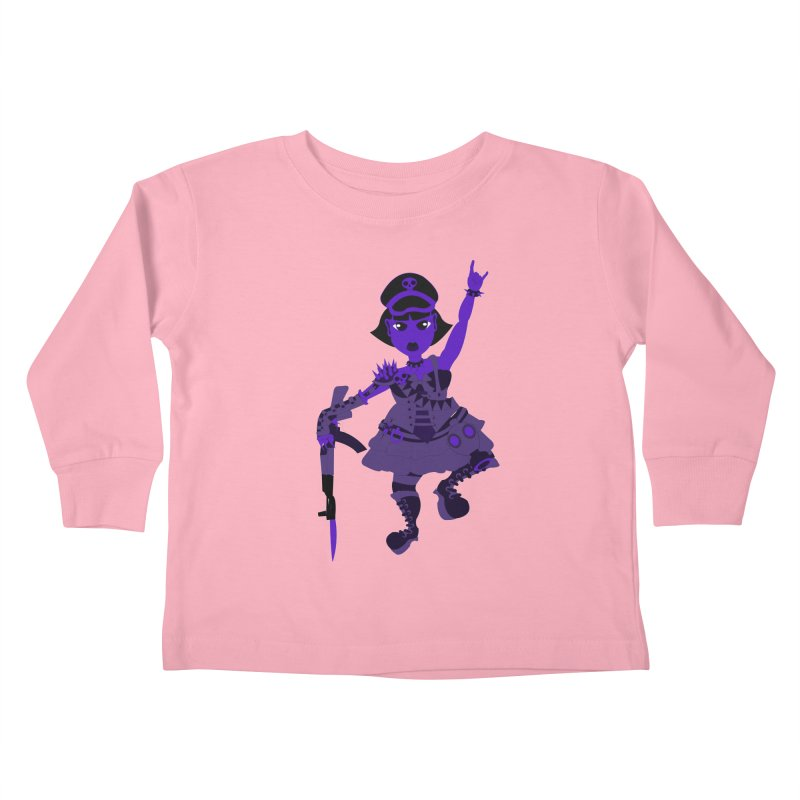 Post Apocalyptic Girl Kids Toddler Longsleeve T-Shirt by Rebecca's Artist Shop