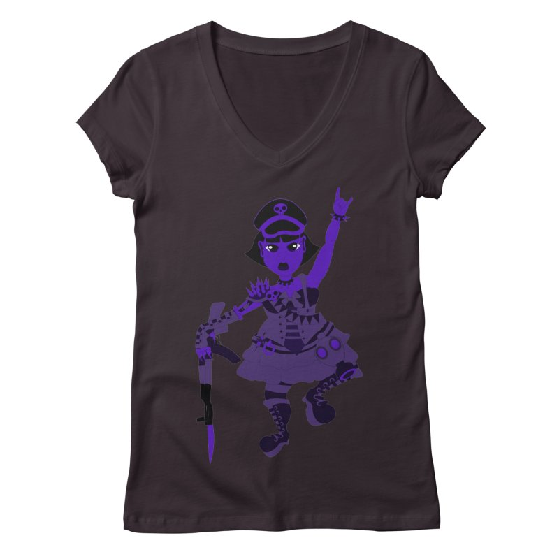 Post Apocalyptic Girl Women's V-Neck by Rebecca's Artist Shop