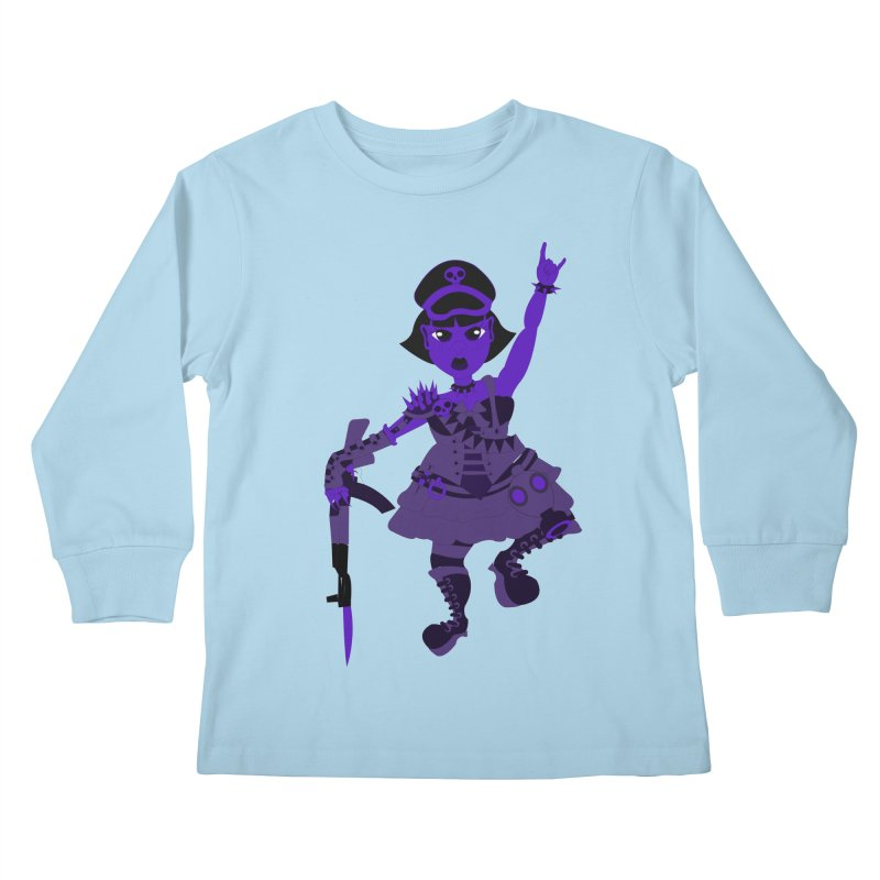 Post Apocalyptic Girl Kids Longsleeve T-Shirt by Rebecca's Artist Shop