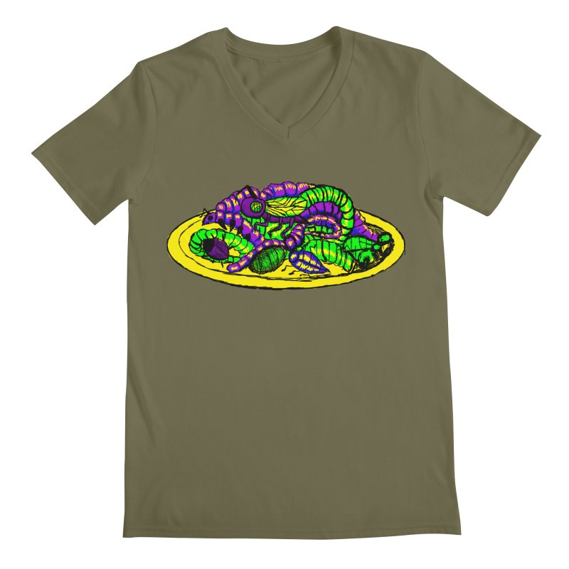 Mimi's Monsters-Plate O' Bugs Men's V-Neck by Rebecca's Artist Shop