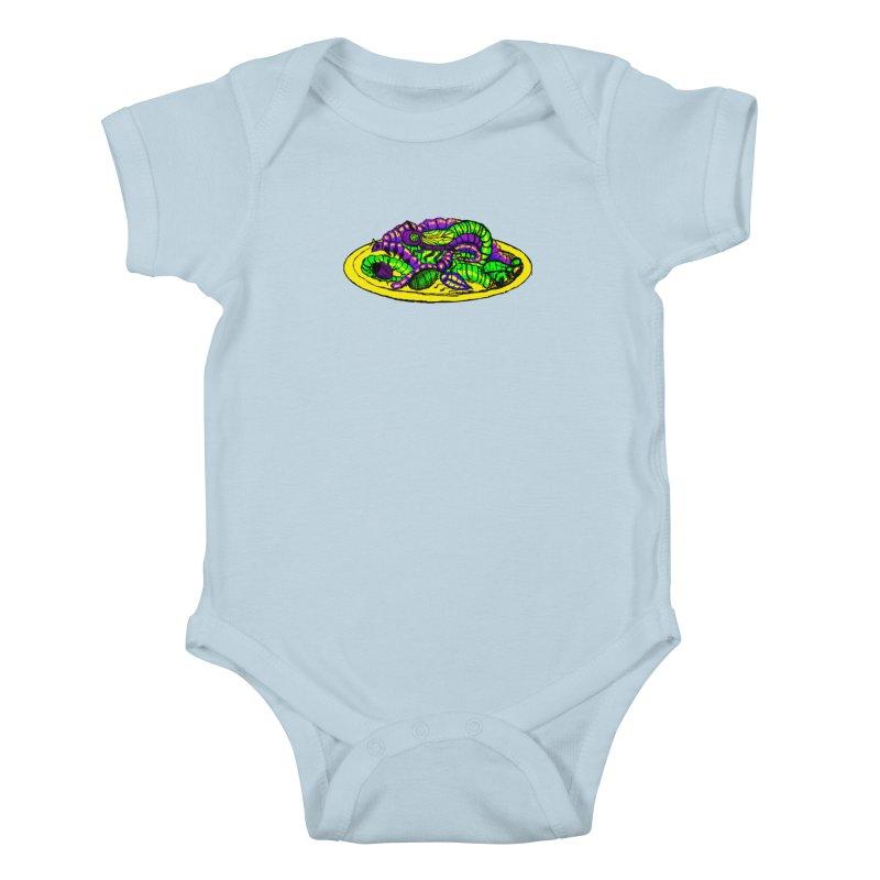 Mimi's Monsters-Plate O' Bugs Kids Baby Bodysuit by Rebecca's Artist Shop