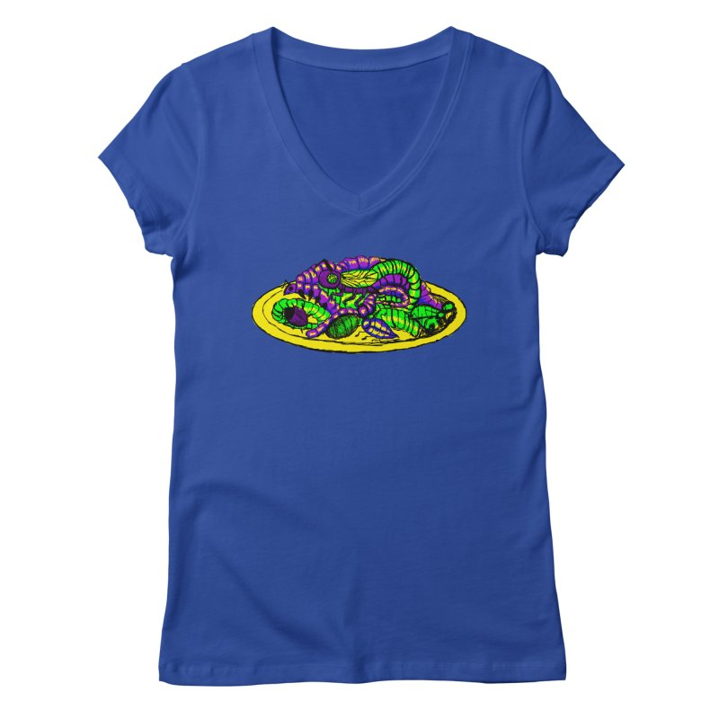 Mimi's Monsters-Plate O' Bugs Women's V-Neck by Rebecca's Artist Shop