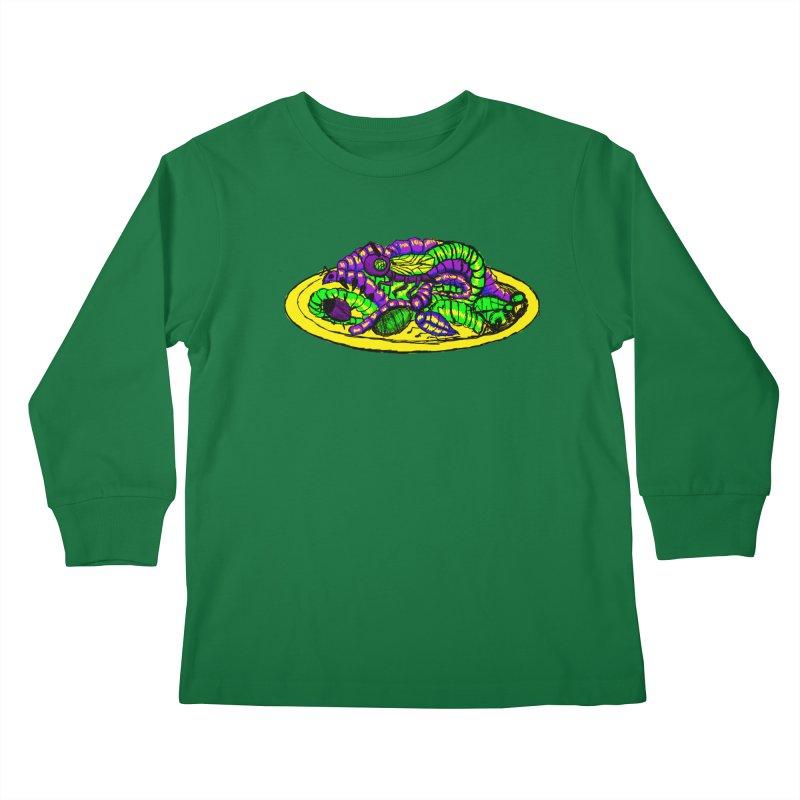 Mimi's Monsters-Plate O' Bugs Kids Longsleeve T-Shirt by Rebecca's Artist Shop