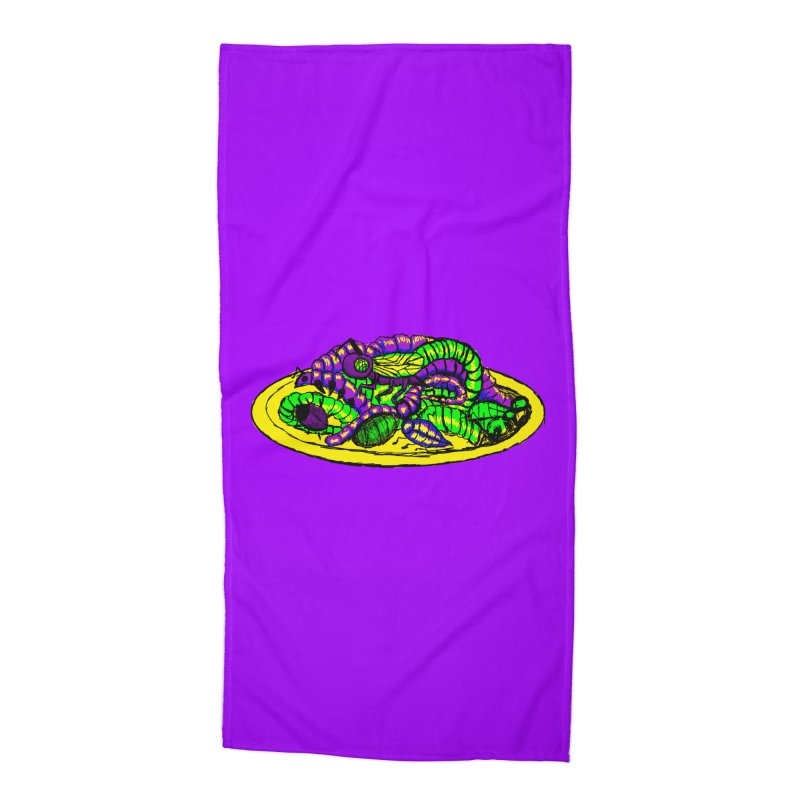 Mimi's Monsters-Plate O' Bugs Accessories Beach Towel by Rebecca's Artist Shop