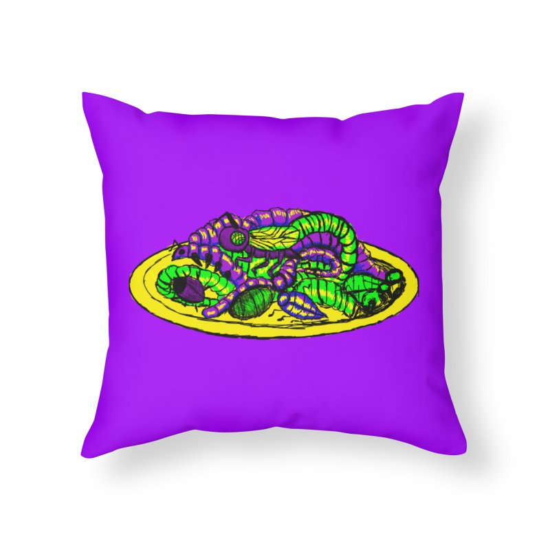 Mimi's Monsters-Plate O' Bugs Home Throw Pillow by Rebecca's Artist Shop