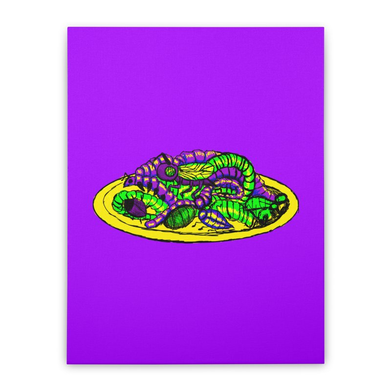 Mimi's Monsters-Plate O' Bugs Home Stretched Canvas by Rebecca's Artist Shop