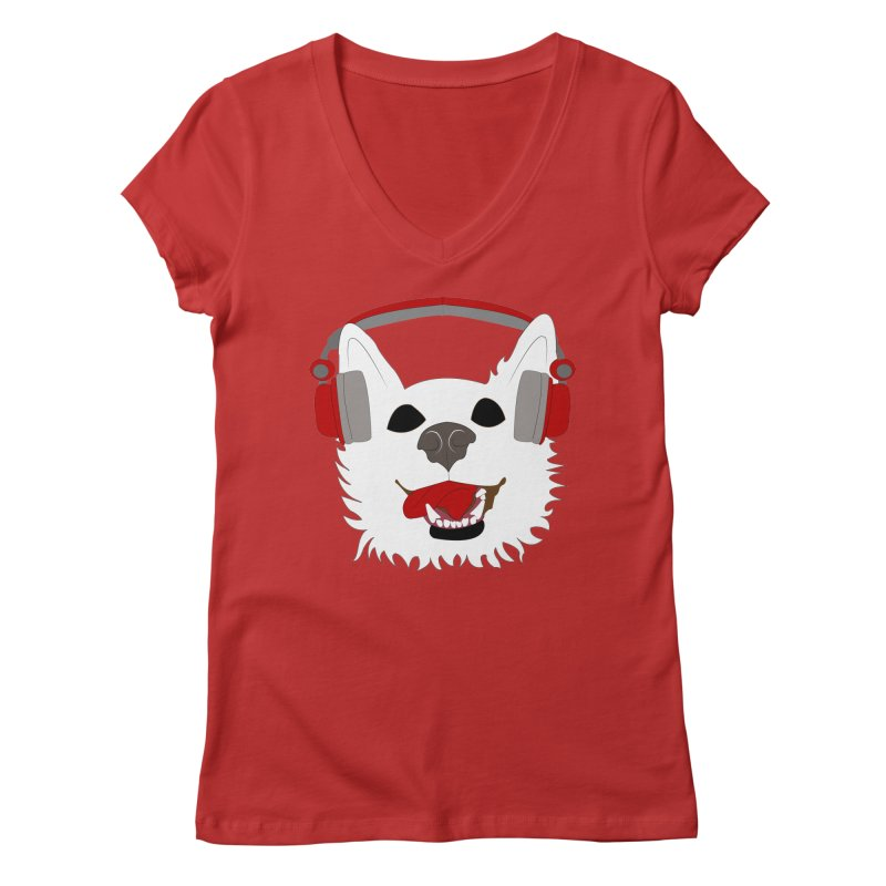 Where Wolf Party Logo Women's V-Neck by Rebecca's Artist Shop