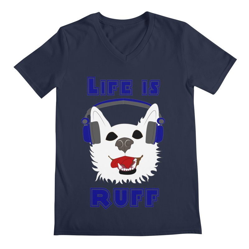 Life Is Ruff - Where Wolf Party Shirt Men's V-Neck by Rebecca's Artist Shop