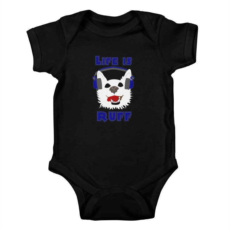 Life Is Ruff - Where Wolf Party Shirt Kids Baby Bodysuit by Rebecca's Artist Shop