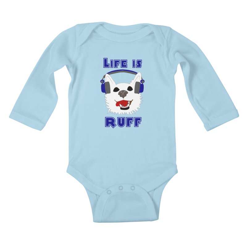 Life Is Ruff - Where Wolf Party Shirt Kids Baby Longsleeve Bodysuit by Rebecca's Artist Shop
