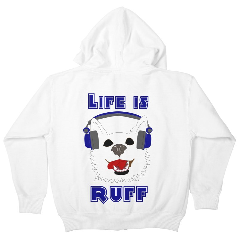 Life Is Ruff - Where Wolf Party Shirt Kids Zip-Up Hoody by Rebecca's Artist Shop