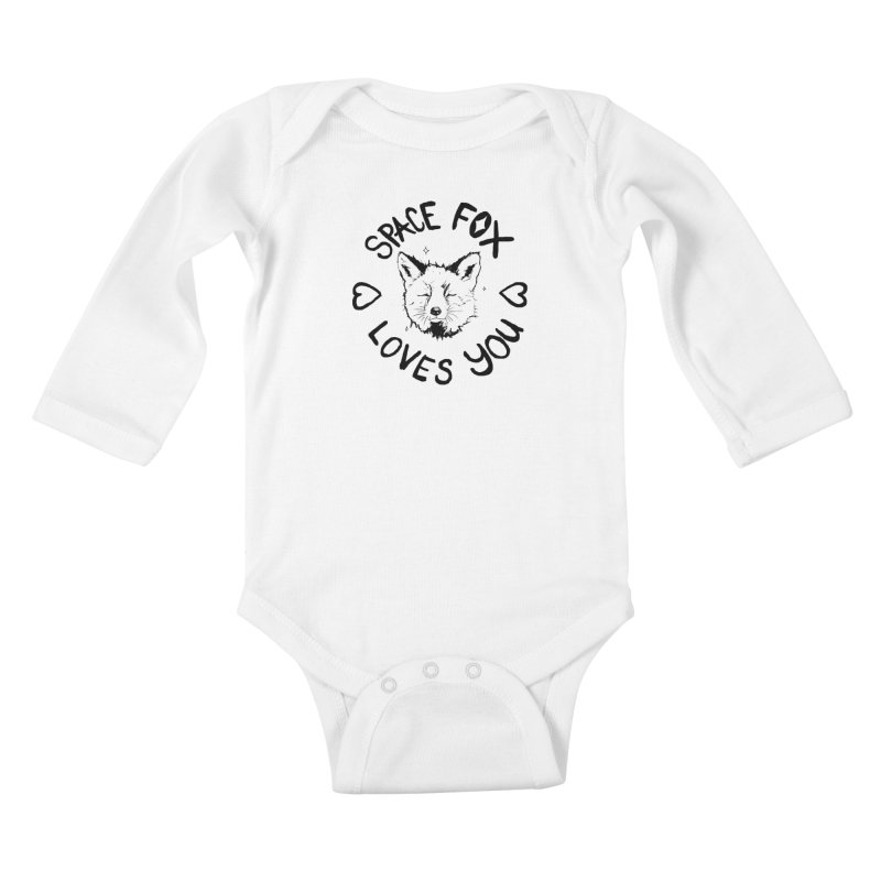 Space Fox Loves You (Dark) Kids Baby Longsleeve Bodysuit by Red Means Recording