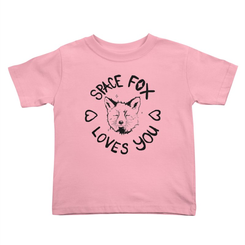 Space Fox Loves You (Dark) Kids Toddler T-Shirt by Red Means Recording