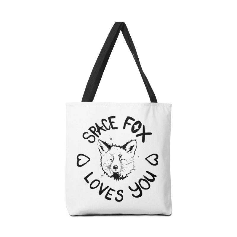 Space Fox Loves You (Dark) Accessories Tote Bag Bag by Red Means Recording