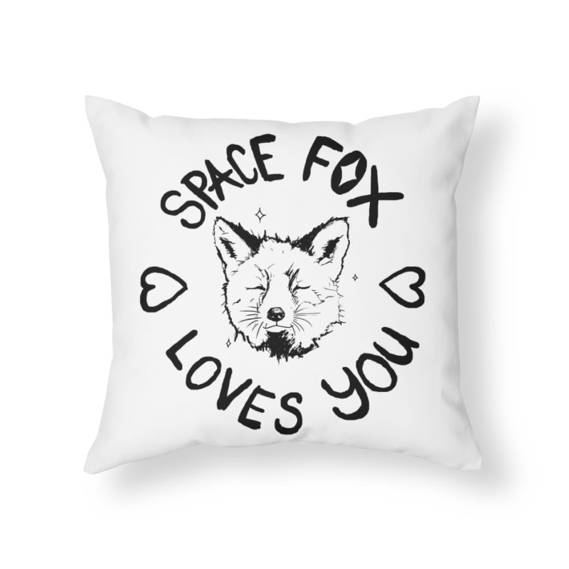 Space Fox Loves You (Dark) Home Throw Pillow by Red Means Recording