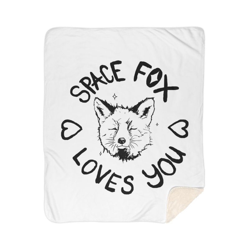 Space Fox Loves You (Dark) Home Sherpa Blanket Blanket by Red Means Recording