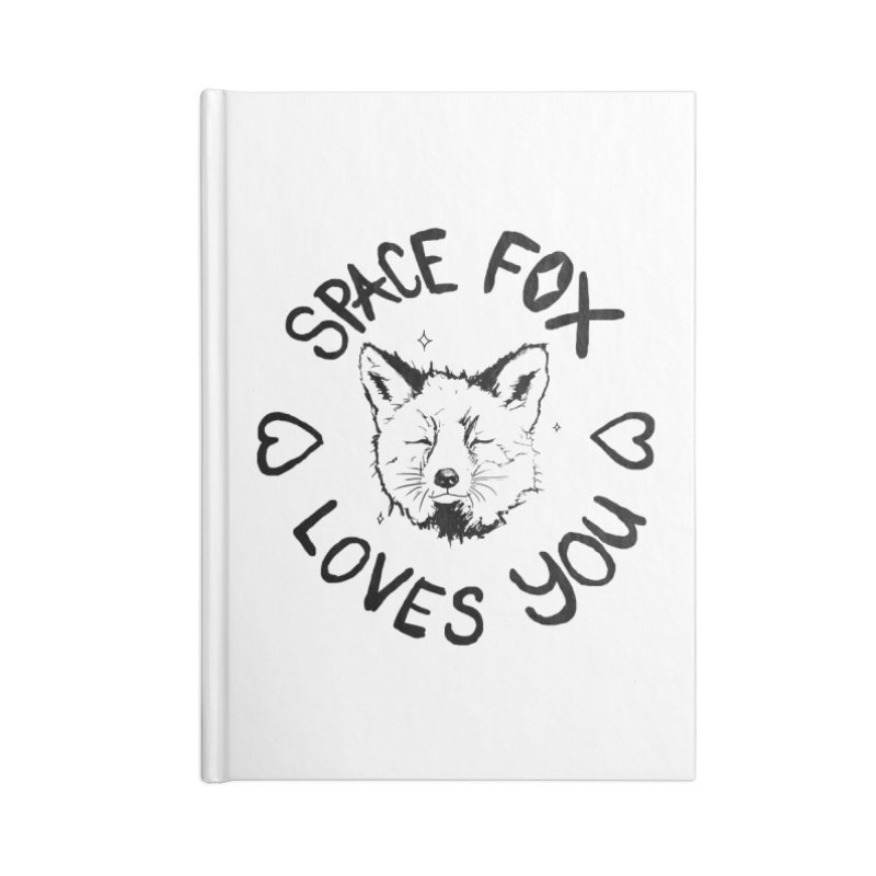 Space Fox Loves You (Dark) Accessories Notebook by Red Means Recording