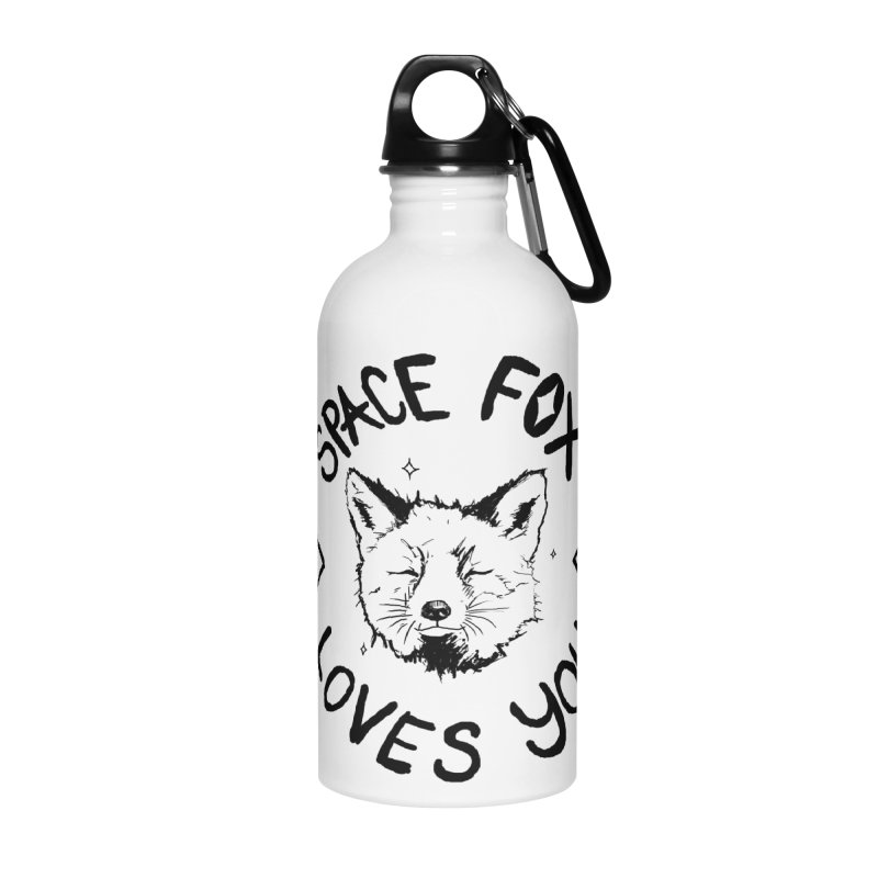 Space Fox Loves You (Dark) Accessories Water Bottle by Red Means Recording