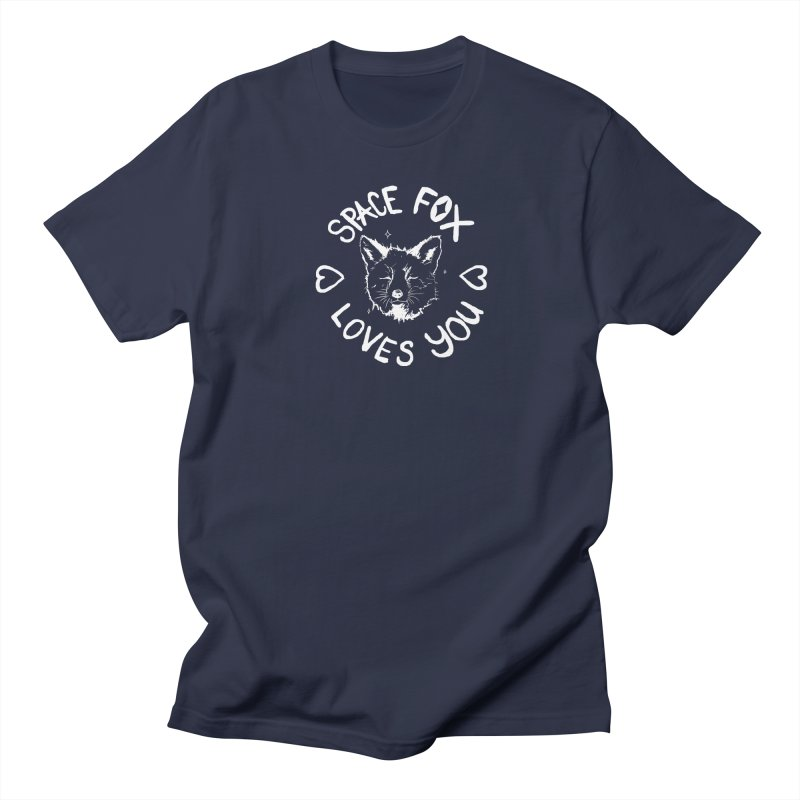 Space Fox Loves You (Light) in Men's Regular T-Shirt Navy by Red Means Recording