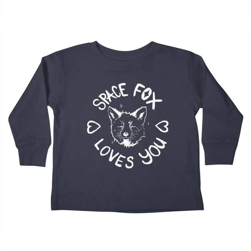Space Fox Loves You (Light) Kids Toddler Longsleeve T-Shirt by Red Means Recording