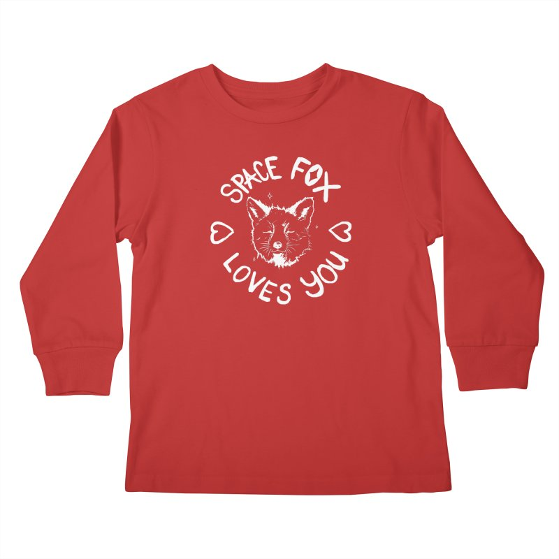 Space Fox Loves You (Light) Kids Longsleeve T-Shirt by Red Means Recording