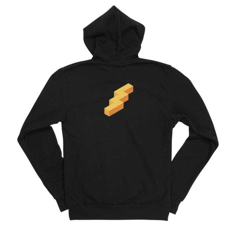 Lightning Noodle (Center) Men's Sponge Fleece Zip-Up Hoody by Red Means Recording