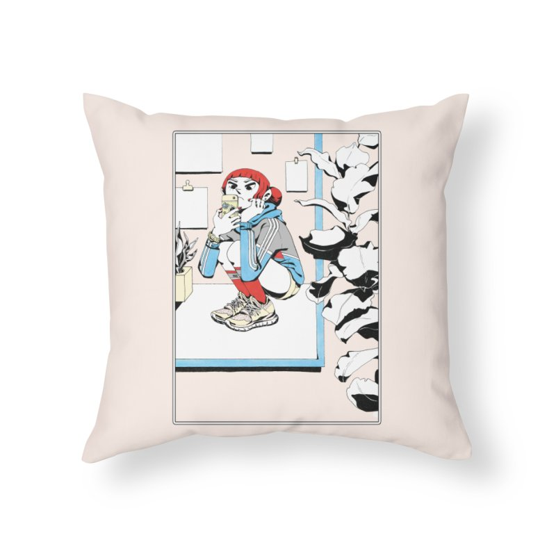 Selfie Home Throw Pillow by Ree Artwork
