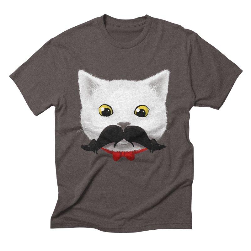 mr. cat's mouse-tache Men's Triblend T-Shirt by Rejagalu's Artist Shop